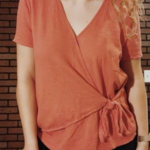 Coral Wrap top with Tie